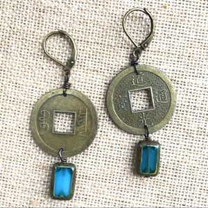 Chinese brass coin earrings w/blue glass dangles